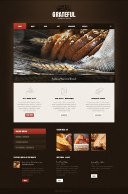 Адаптивный HTML шаблон №40311 на тему хлебобулочные изделия