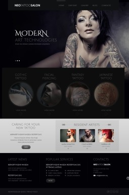 Адаптивный WordPress шаблон №43569 на тему тату салон