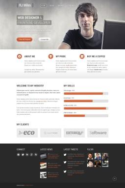 Адаптивный WordPress шаблон №43885 на тему портфолио дизайнера