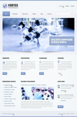 Адаптивный HTML шаблон №44324 на тему научная лаборатория