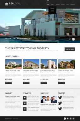 Адаптивный Joomla шаблон №44383 на тему агентство недвижимости