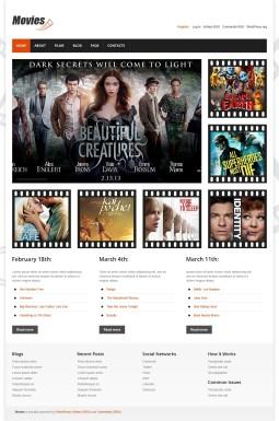 Адаптивный WordPress шаблон №44742 на тему кино