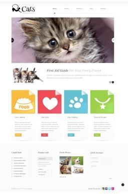 Адаптивный WordPress шаблон №45582 на тему кошки