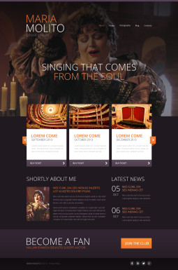 Адаптивный HTML шаблон №47441 на тему певец