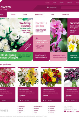 Адаптивный WooCommerce шаблон №48243 на тему цветочный магазин