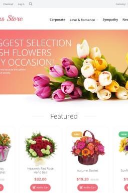 Адаптивный OpenCart шаблон №55697 на тему цветочный магазин