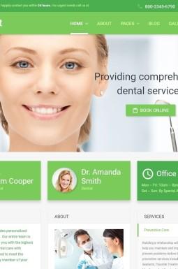 Адаптивный Joomla шаблон №55709 на тему стоматология