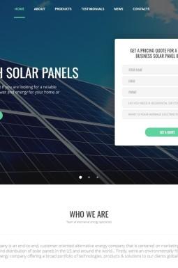 Адаптивный Шаблон посадочной страницы №66063 на тему солнечная энергия
