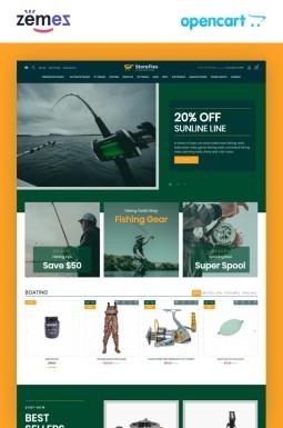 Адаптивный OpenCart шаблон №99606 на тему рыбалка