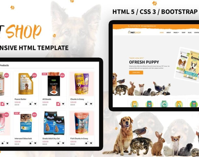 Адаптивный HTML шаблон №138611 на тему животные