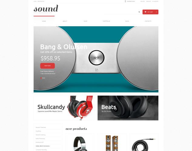 Адаптивный WooCommerce шаблон №48363 на тему магазин аудио