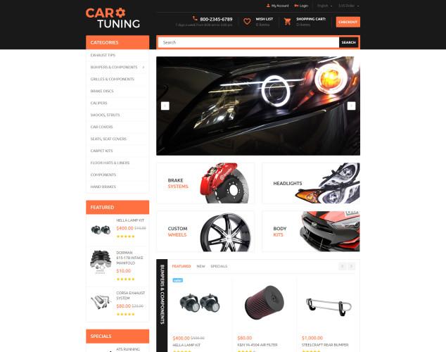 Адаптивный OpenCart шаблон №55728 на тему тюнинг авто