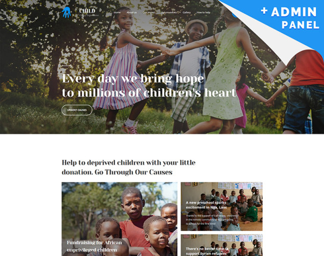 Адаптивный Шаблон посадочной страницы №65475 на тему благотворительность