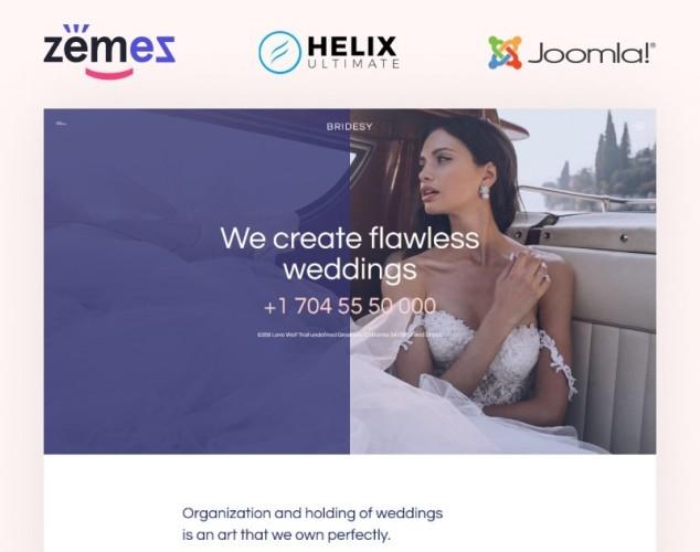 Адаптивный Joomla шаблон №99501 на тему организация свадьбы